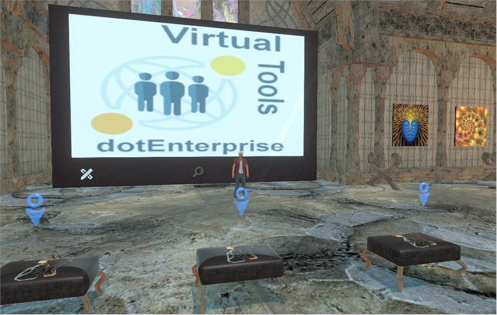 Ready to use conference room in Sinespace. Note the high quality rendering, particularly those of the avatar